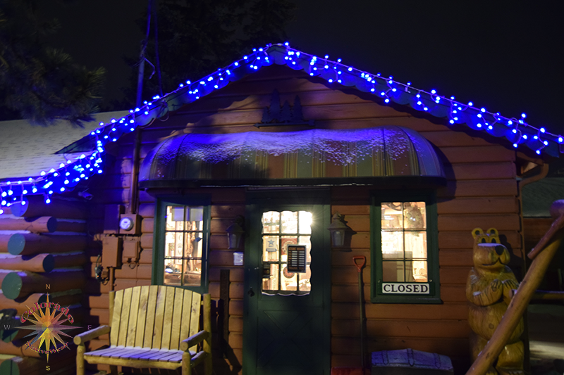 Christmas Parade Woodland Park Store Fronts lite for the season