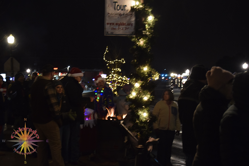 Christmas Parade Woodland Park Barrel fires with warm conversation between friends and neighbors in conversation