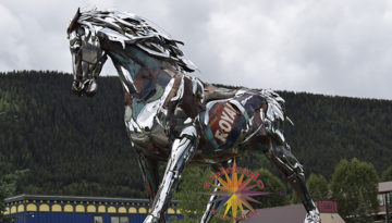 Artistic Recycled Metal Horse in downtown Crested Butte, Colorado