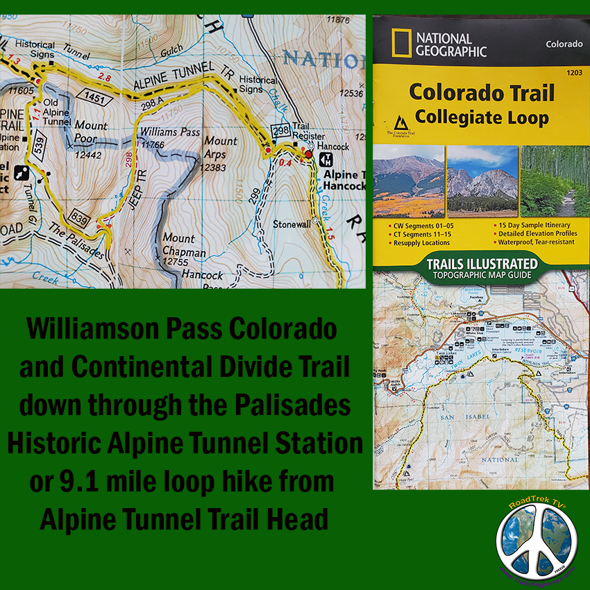 Route Taken from Alpine Tunnel Trail Head over Williamson Pass, through the Palisades, Alpine Station and back to the trail head Hancock Colorado