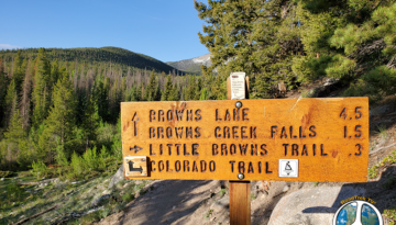 In this section of the trail on hike, Browns Lake Hike 1-2 we inter-sect the Colorado Trail and hike 3 tenths of mile on the Colorado Trail before taking a right and hiking towards the fall and on to Browns Lake