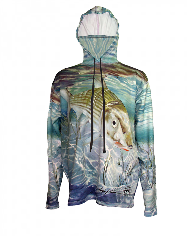 Bonefish SunPro Hoodie, offers great protection, while looking good on the flats with your reel singing the song of the running freight train of a fish, screams across the flats.