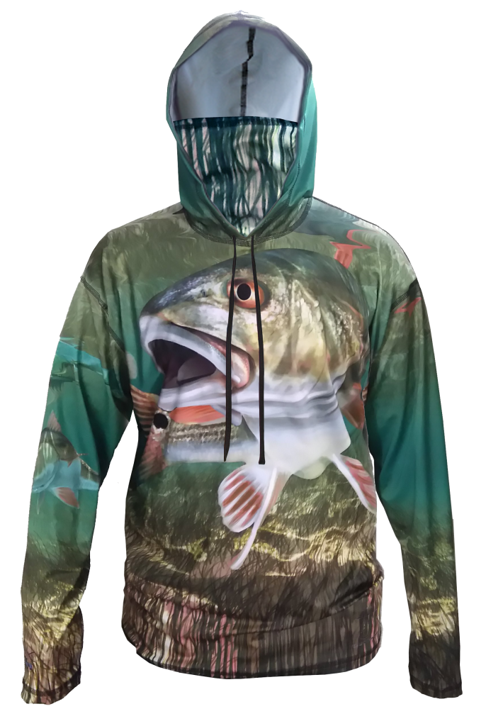 Redfish SunPro Hoodie, is a SPF Sun protection hoodie with a built in neck gaiter, comfort, and looks good on the water or town out for dinner
