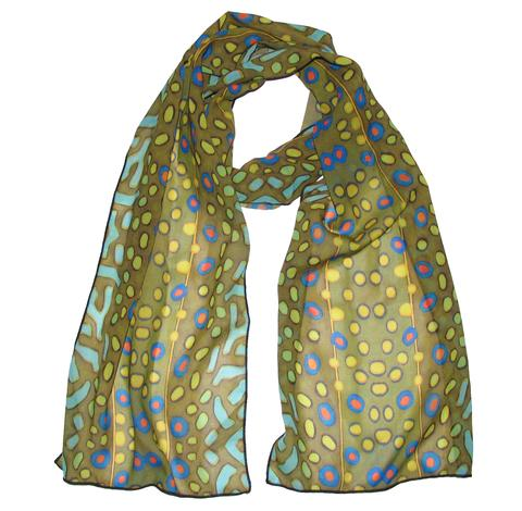 Brook Trout 100% Silk Fishing Scarves making a great fashion statement