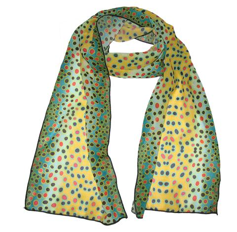Brown Trout Silk Fishing Scarf is a great accessory for your wardrobe or evening wear