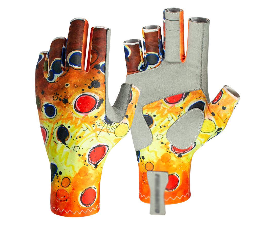 Fly Fishing Apparel Brown Trout Sun Glovesprovide extreme sun protection as well as preventing blisters on long rows.We use a brown trout skin print