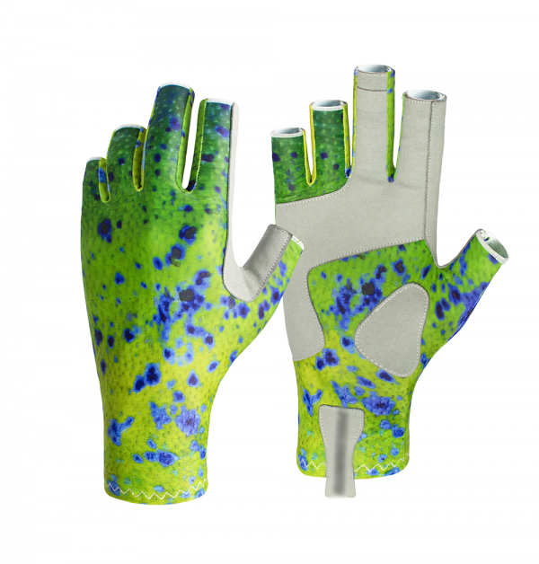 Dorado pattern fishing gloves offering protection from sun and comfortable day on the water