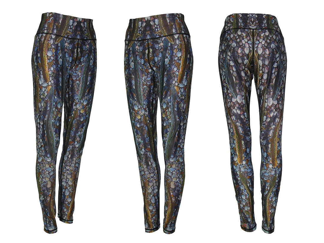 Trout Dreams Yoga Pants Leggings are a great mens yoga pants great on the trail hiking, backpacking, camping with a tent