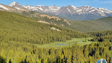 View of Ski Runs at Breckenridge Colorado and the valley in the foreground below