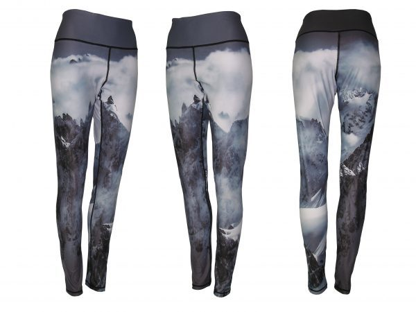 Jagged Edge Yoga Pants All Sport Leggings image taking a helicopter ride to a beautiful panoramic mountain peak skiing off a cornice of your dreams