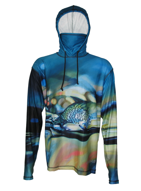 Hoodie Fly Fishing Apparel Took the One Rainbow Trout A D Maddox bring the action of a Rainbow trout taking your dry fly the built in face mask bring great protect on the river, backpacking trail hiking, mountain biking, trail running, or other outdoor activity