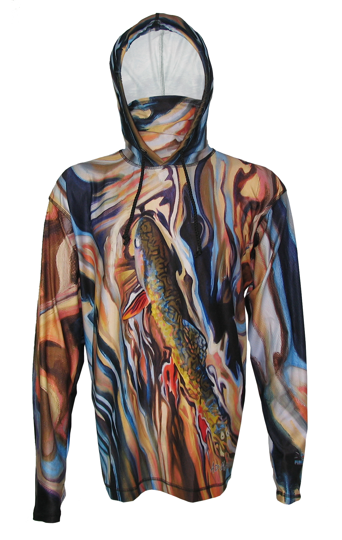 AD Maddox Upper Gros Venter Brook Trout Fly Fishing Apparel Hoodie will keep you protected on the river, trail, backpacking, hiking, mountain biking or keep you looking good out on the town