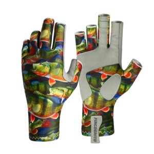 Peacock Bass Fishing Gloves bring a spf 50 sun protection to every adventure, backpacking, hiking, mountain biking, trail running or a drive across country