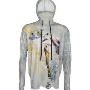 Tarpon Hookup SunPro Hoodie, the reel sings, rod is bent as you watch the Tarpon sailing through the air shaking it's head, to loosen the hook or not, is it your lucky day to land and release this silver saltwater freight train?