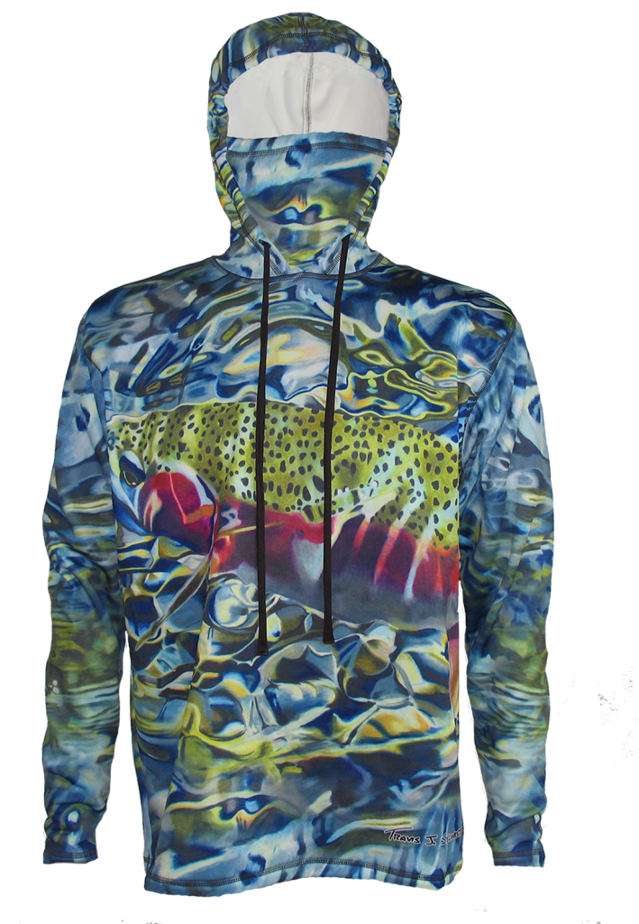 """<a href=""""https://trailofhighways.com/wp-content/uploads/2018/11/Face-mask-built-in-the-hoodie-fly-fishing-apparel.png""""><img class=""""alignleft wp-image-4795"""" src=""""https://trailofhighways.com/wp-content/uploads/2018/11/Face-mask-built-in-the-hoodie-fly-fishing-apparel-300x135.png"""" alt=""""AD Maddox Upper Gros Venter Brook Trout Fly Fishing Apparel Hoodie built in face mask in the hoodie for even more protection on the trail, river, hiking, backpacking camping, mountain biking, climbing or any other outdoor indoor activity"""" width=""""340"""" height=""""153"""" /></a> <a href=""""https://trailofhighways.com/wp-content/uploads/2018/11/extented-thumb-cuff.png""""><img class=""""wp-image-4794 size-medium"""" src=""""https://trailofhighways.com/wp-content/uploads/2018/11/extented-thumb-cuff-300x195.png"""" alt=""""AD Maddox Upper Gros Venter Brook Trout Fly Fishing Apparel Hoodie extented thumbhole cuffs for added comfort on the river, trail,hiking,backpacking, camping, mountain biking or any other outdoor activity """" width=""""300"""" height=""""195"""" /></a> Extented Thumbhole Cuffs  <span style=""""font-weight: 400;"""">Our revolutionary design (Patented Loki technology) keeps a face mask ready for you at a moment's notice. Simply reach behind your head, pull it over and cover your face, instant sun protection or warmth. Or keep it lower as a Neck Gaiter to keep harmful rays from your neck.</span>  AD Maddox is a Tennessee born Fly Fishing Artist who's roamed the west on her Ducati with Brush and Fly Rod in Hand. AD Maddox's fly fishing art brings a serene quality of nature to every piece of fly fishing apparel, creating the feeling of being on the river with every step. Small Baetis offer great dry fly fishing from march into late november in some regions of the rocky mountains. Rainbow Trout are cousins to salmom, and are a coldwater fish. Rainbow Trout are found coast to coast providing a srene fly fishing experience to those who wonder out looking. Rainbow Trout are a symbol of a health stream.  <a style=""""font-family: ar"""