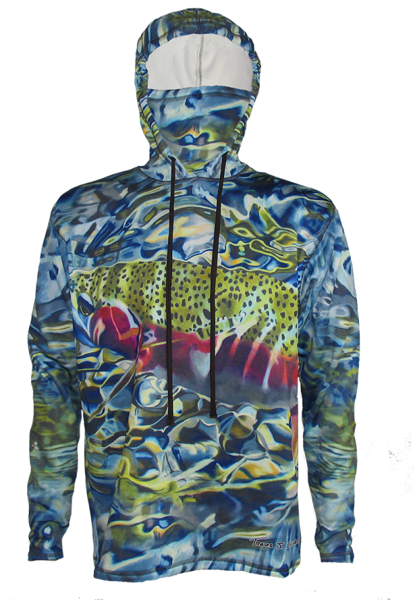 Tranquility Rainbow Trout Hoodie offers great sun protection at a SPF 50, Looks great indoor or outdoors on a river casting a line to rising trout