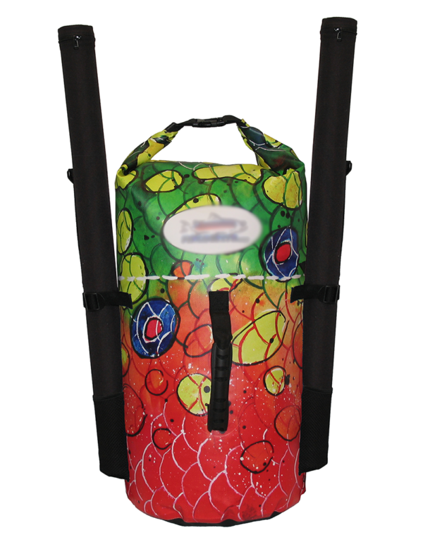 Brook Trout Backpack Dry Bag, will leave yo dreaming of wild Trout and wild rivers, fly fishing backpacks women creating a outdoor river fashion.waterproof dry bags are no longer lacking in style. We created style and functionality from tough 250 denier PVC Tarpaulin with a sonic welded seams, and a rolled closure to make these completely waterproof backpacks.