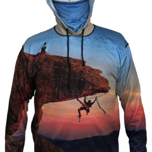 Hang Out Sunpro Hoodie features two climbers on on the bill.  Feel the Adrenalin of the climber below the bill as they work their way along underneath up over the edge to join the climber on top.Sunpro UV-protective hoodies use a blend of poly fabric that is lightweight, very breathable, an won't know you have it on, yet it blocks out alm cuffs and an internal stow-away neck gaiter.
