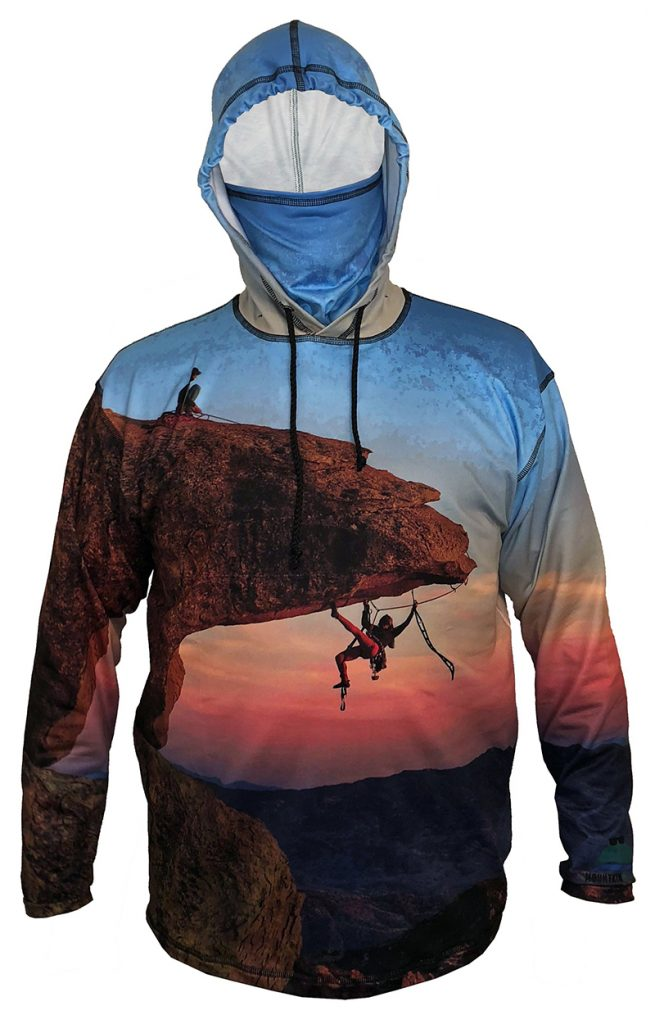 Hang Out Sunpro Hoodie features two climbers on on the bill. Feel the Adrenalin of the climber below the bill as they work their way along underneath up over the edge to join the climber on top.SunproUV-protective hoodies use a blend of poly fabric that is lightweight, very breathable, an won't know you have it on, yet it blocks out almcuffs and an internal stow-away neck gaiter.