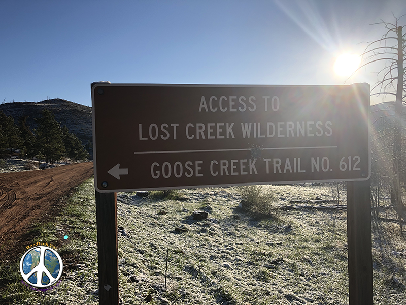 Sign at junction for Goose Creek Trail Head Lost Creek Wilderness in Hike Harmonica Arch Similitude 1-2