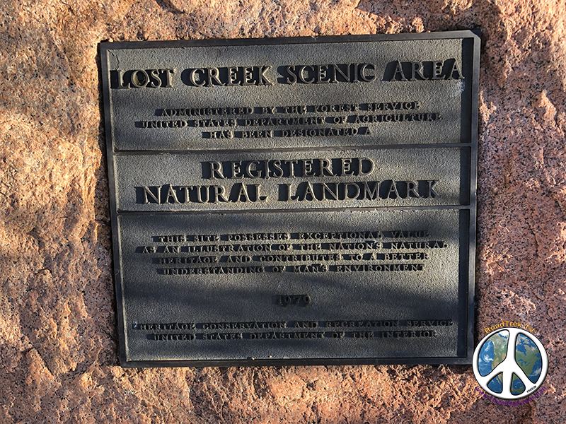 Lost Creek Wilderness, Lost Creek Scenic Area Plaque, this place has an interesting history