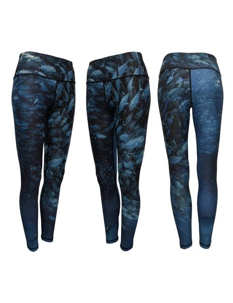 Scuba Jacks Leggings isprinton a performance yoga-style legging shows a diver surrounded by a ball of Jack Crevalles. Wear as wader liners, long underwear, workout leggings