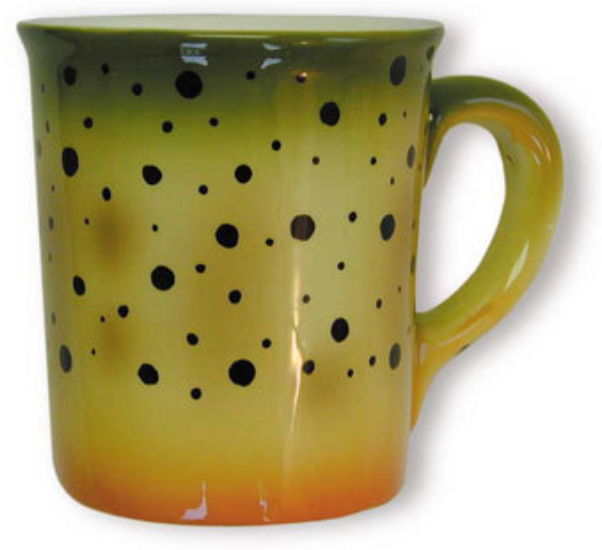 Mugs Cutthroat Trout Stoneware HAND-PAINTED STONEWARE MUGS Our oversized 20 oz. mugs are individually hand-painted with the colors and patterns of beautiful trout.