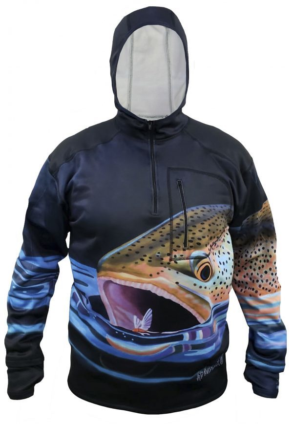 AD Maddox's Brown Trout chases after a natural dry in this epic print. We are proud to be launching our 1/4 Zip Hydrophobic Flex Shell Hoodies.