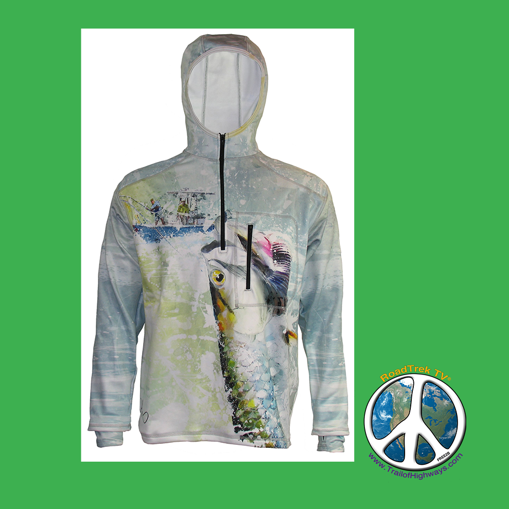 TARPON ONLINE 1/4-ZIP Hoodie is Hydrophobic Wind Resistance Daniel Lopez's Tarponis on the fly in this incredible representation of the fight. Our 1/4-Zip Hydrophobic Flex Shield Hoodie features thumb-hole cuffs, a zippered chest pocket