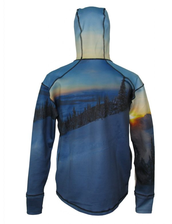 Above The Clouds 1/4-Zip Hydrophobic Flex-Shield Hoodie This one features a lone skier at dawn hitting un-tracked Icelandic powder. Our 1/4-Zip Hydrophobic Flex-Shield Hoodie