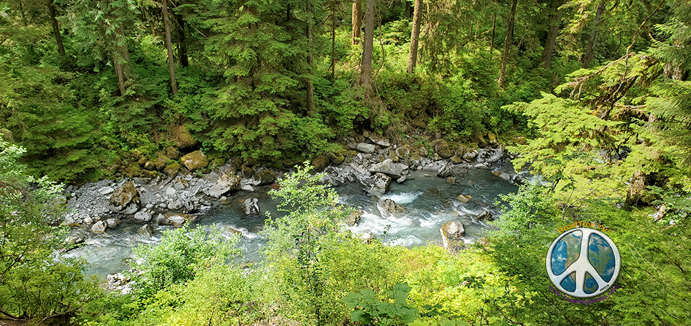 Looking down at the Boulder River from the trail
