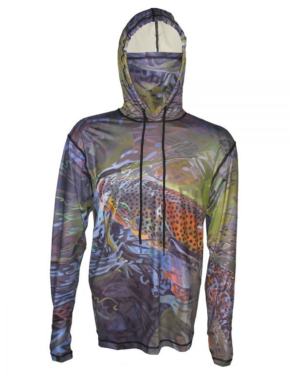 Brown Trout SunPro Hoodie Fish, Hike, Backpack in comfort with AD Maddox's Green Brown depicts a Green River brown trout . Get Yours Today Here
