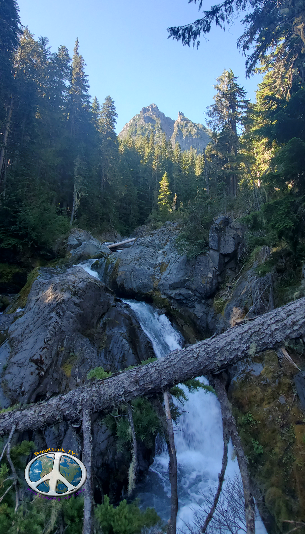 Waterfall at first switch back on Summerland Wonderland Trail Similitude 1-2