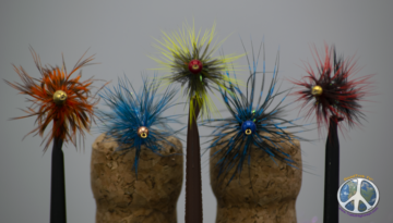 Wooly Buggers on display fly fishing apparel