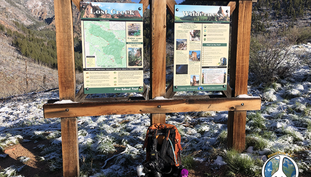 Trail head sign into Lost Creek Wilderness at Goose Creek Trail Head Hike Harmonica Arch Similitude 1-3