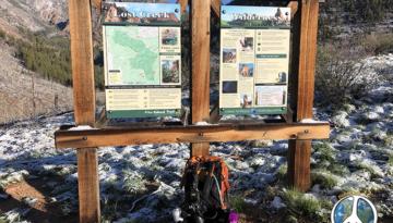 Trail head sign into Lost Creek Wilderness at Goose Creek Trail Head Hike Harmonica Arch Similitude 1-3