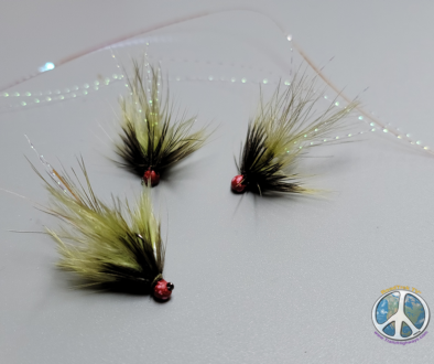 Olive Micro Wooly Bugger Personally I have found trout really enjoy a Micro Wooly Bugger tied on a jig hook with a red bead.