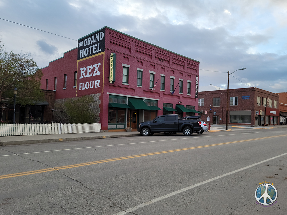 Grand Hotel in Big Timber, Montana on a spring morning on a Drive by US-191 Similitude-3
